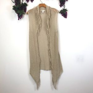 Chico's open knit crochet fringe vest cardigan